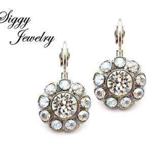 Swarovski® Crystal Earrings, Clear and Moonlight